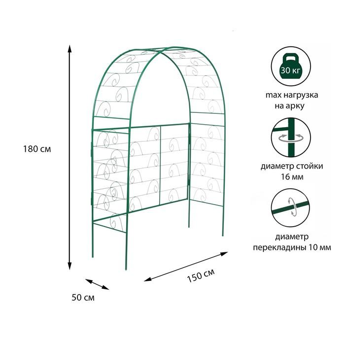 Арка садовая, разборная, 180 × 150 × 50 см, металл, зелёная, «Беседка»