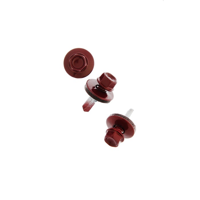 Саморез кровельный 5.5х19 мм, винно-красный RAL 3005, в упаковке 600 шт.