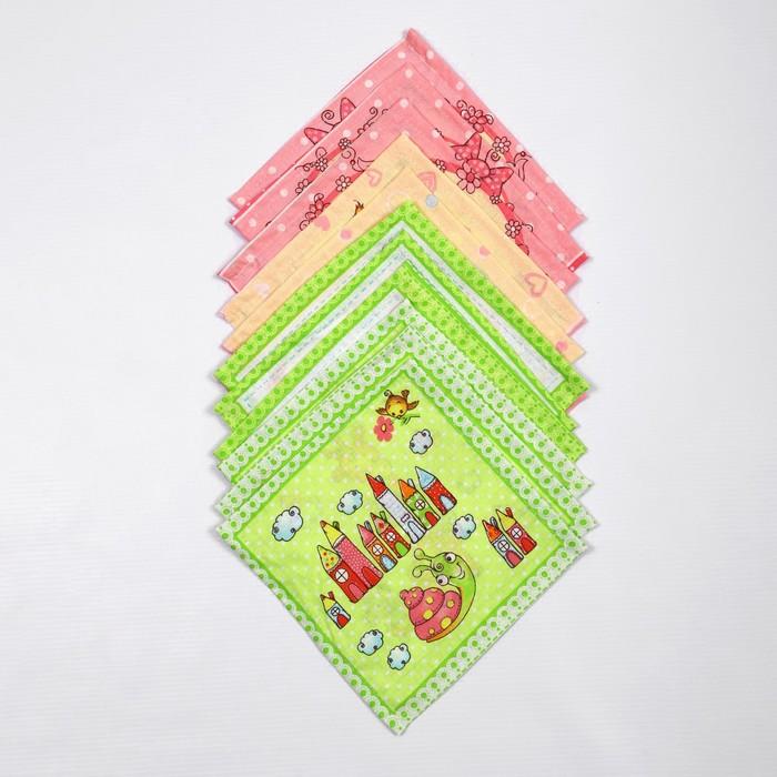 Набор платков носовых детских 18х18 см, 12шт, рис 21020-1 микс, 100г/м хл100%