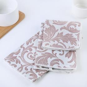 "Набор салфеток для уборки ""Флёр"": 30×30/40×48/40×60 см, цвет бежевый"