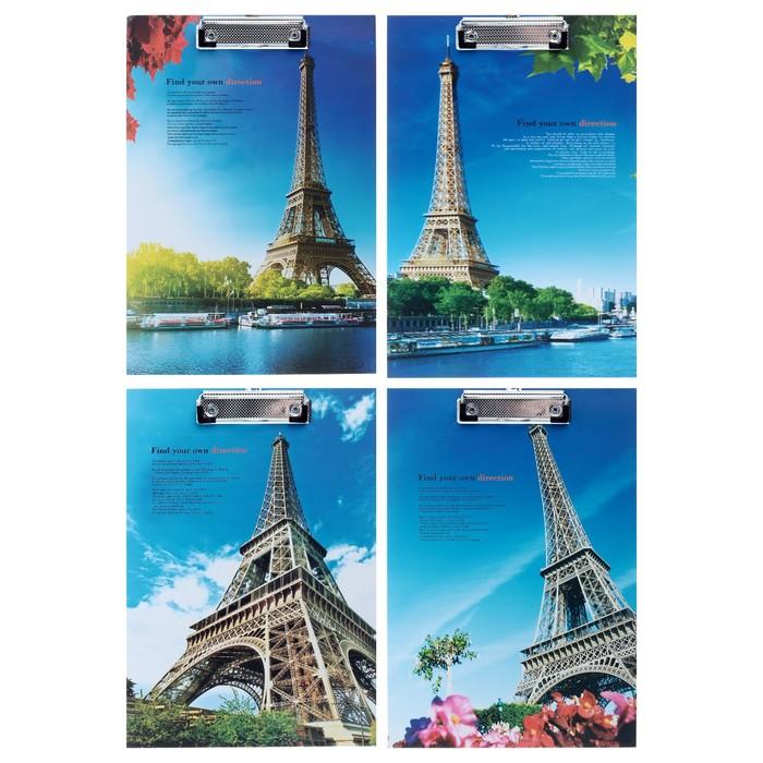 Планшет с прижимом, формат А4, картон, «Эйфелева башня», МИКС - фото 511158454
