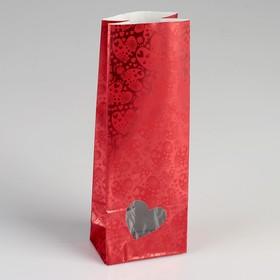 """Пакет бумажный фасовочный """"Сердца"""", матовый, красный, 8 х 5 х 22 см"""