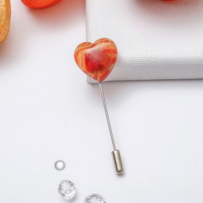 """Брошь-игла """"Сердолик"""" сердце 20*20мм L=7,5см в серебре"""
