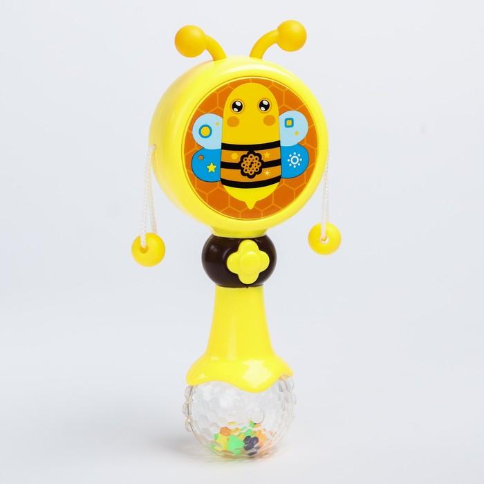 Погремушка на палочке «Пчёлка», музыкальная, на батарейках