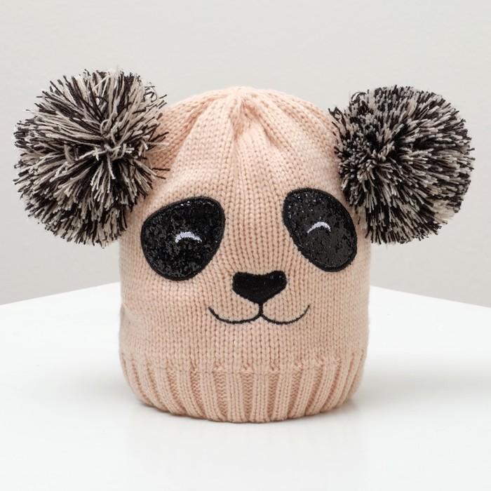 """Шапка детская MINAKU """"Панда"""", размер 52-54, цвет розовый"""