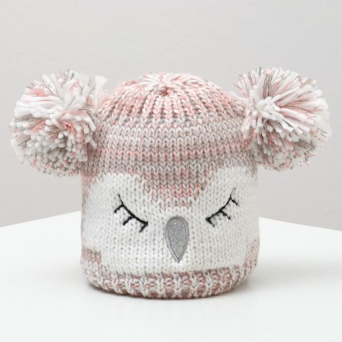 """Шапка детская MINAKU """"Совушка"""", вид 2, размер 52-54, цвет светло-розовый"""