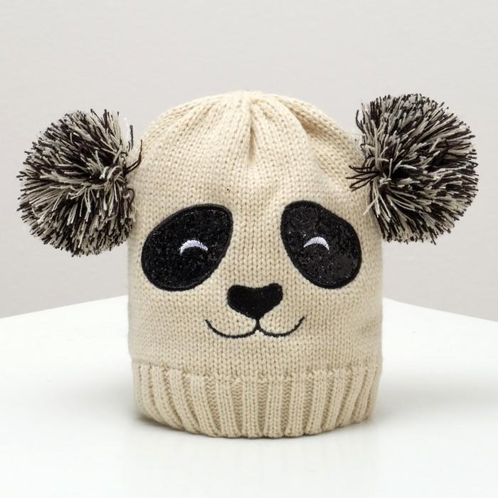 """Шапка детская MINAKU """"Панда"""", размер 52-54, цвет бежевый"""