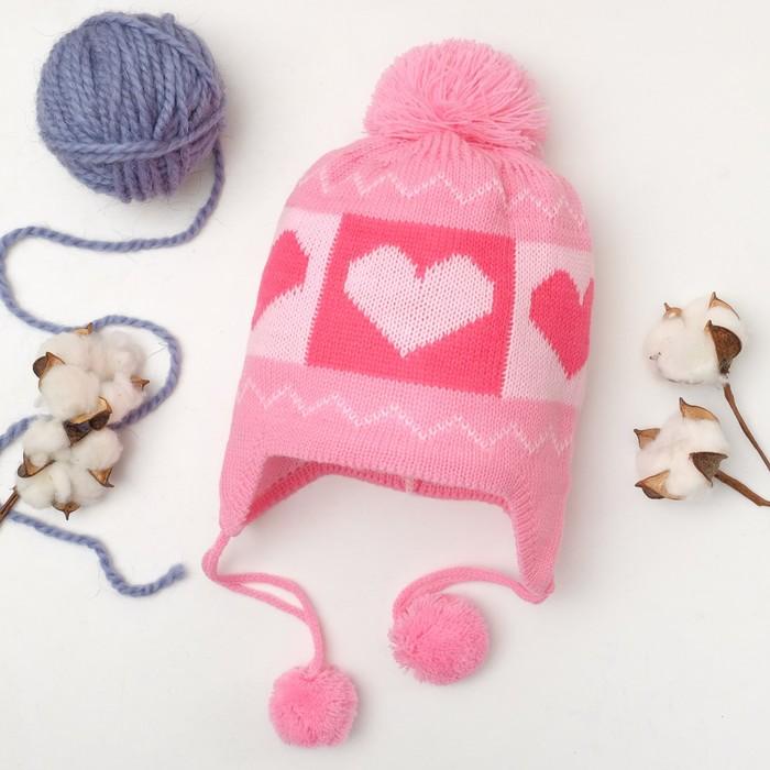 """Шапка для девочки Collorista """"Сердечки"""", размер 50, цвет розовый"""