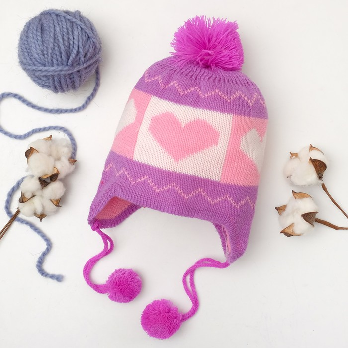 """Шапка для девочки Collorista """"Сердечки"""", размер 50, цвет фиолетовый"""