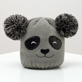 "Шапка детская MINAKU ""Панда"", размер 52-54, цвет серый"