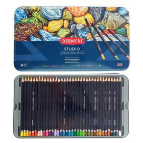 Карандаши художественные цветные Derwent Studio, 36 цветов, в металлической коробке
