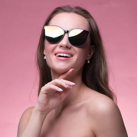 Очки солнцезащитные 'Кошачий глаз', оправа черная, метал. вставка линзы микс 14.5х5.5х2.5 см Ош