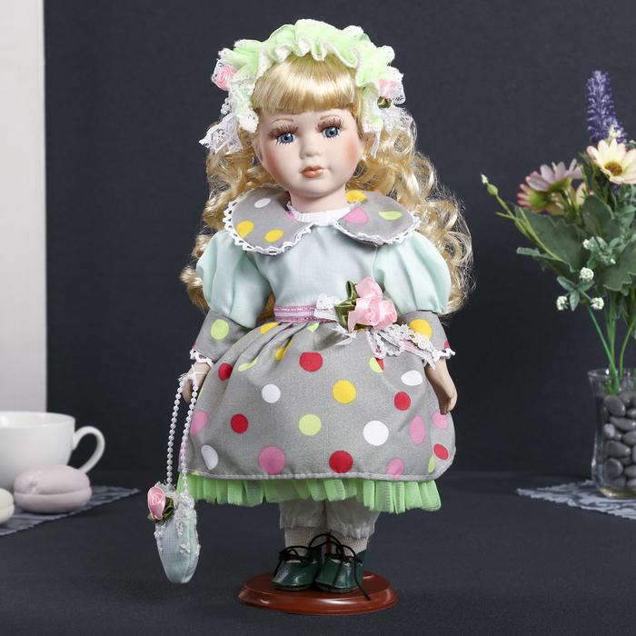 """Кукла коллекционная керамика """"Агнесса в зелёном платье с бантиками"""" 30 см"""