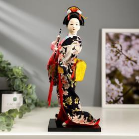 Кукла коллекционная 'Японка в цветочном кимоно с флейтой' 30х12,5х12,5 см Ош