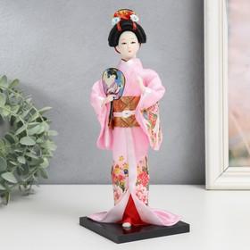 """Кукла коллекционная """"Японка в розовом кимоно с опахало"""" 25х9,5х9,5 см"""