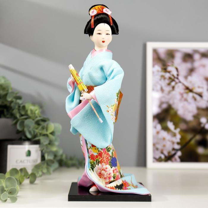 """Кукла коллекционная """"Японка в голубом кимоно с зонтом"""" 30х12,5х12,5 см - фото 2218295"""