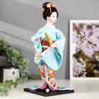 """Кукла коллекционная """"Японка в голубом кимоно с зонтом"""" 30х12,5х12,5 см - фото 2218296"""