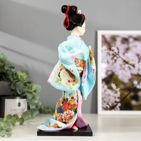 """Кукла коллекционная """"Японка в голубом кимоно с зонтом"""" 30х12,5х12,5 см - фото 2218297"""