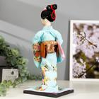 """Кукла коллекционная """"Японка в голубом кимоно с зонтом"""" 30х12,5х12,5 см - фото 2218298"""
