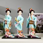 """Кукла коллекционная """"Японка в голубом кимоно с зонтом"""" 30х12,5х12,5 см - фото 2218299"""