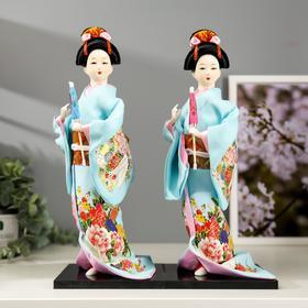 """Кукла коллекционная """"Японка в голубом кимоно с зонтом"""" 30х12,5х12,5 см - фото 2218300"""