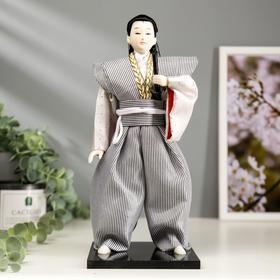 """Кукла коллекционная """"Самурай в сером кимоно с мечом"""" 30х12,5х12,5 см"""