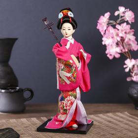 """Кукла коллекционная """"Японка в цветочном кимоно с музыкальным инструментом"""" 30х12,5х12,5 см"""