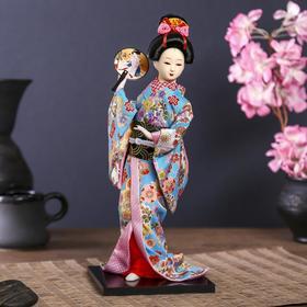 """Кукла коллекционная """"Японка в цветочном кимоно с опахало"""" 30х12,5х12,5 см"""