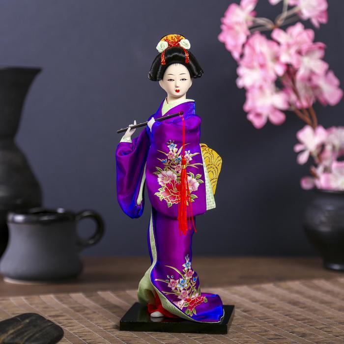 """Кукла коллекционная """"Японка в фиолетовом кимоно с флейтой"""" 25х9,5х9,5 см"""