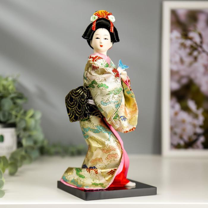 """Кукла коллекционная """"Японка в цветочном кимоно с бабочкой на руке"""" 25х9,5х9,5 см - фото 2218466"""