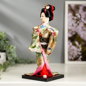 """Кукла коллекционная """"Японка в цветочном кимоно с бабочкой на руке"""" 25х9,5х9,5 см - фото 2218467"""
