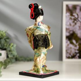 """Кукла коллекционная """"Японка в цветочном кимоно с бабочкой на руке"""" 25х9,5х9,5 см - фото 2218469"""