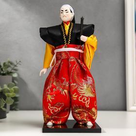 """Кукла коллекционная """"Воин в ярком кимоно с саблей"""" 30х12,5х12,5 см"""