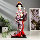 "Collectible baby doll ""a Japanese woman in floral kimono with butterfly on hand"" 30х12,5x12,5 cm"