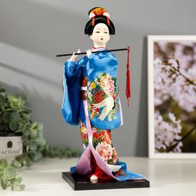 Кукла коллекционная 'Японка в шелковом голубом кимоно с флейтой' 30х12,5х12,5 см Ош