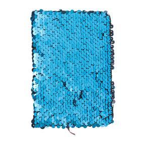 Записная книжка подарочная формат А6, 80 листов, линия, Пайетки двухцветные голубой-серебро