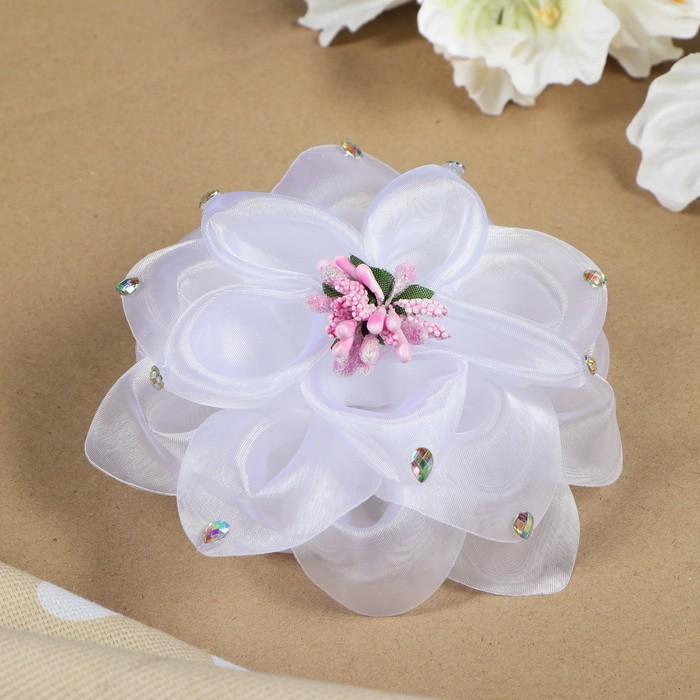 """Бант для девочек с резинкой """"Снежа"""" белый, с розовым цветком, 13 см"""