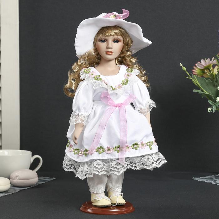 """Кукла коллекционная керамика """"Алевтина в белом платье и шляпке"""" 30 см"""