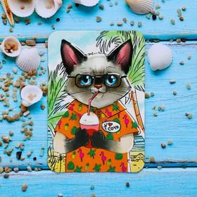 "Magnet with UV varnish ""Sochi"" (the cat on the resort), 5.5 x 8 cm"