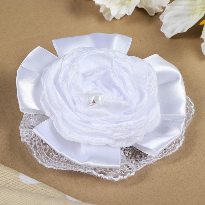 """Бант для девочек с резинкой """"Невеста"""" белый, 17 см - фото 301417188"""