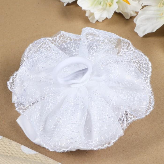 """Бант для девочек с резинкой """"Невеста"""" белый, 17 см - фото 301417189"""