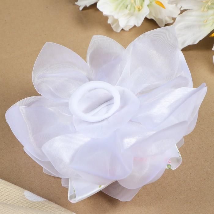 """Бант для девочек с резинкой """"Весна"""" белый, с атласной лентой, 18 см - фото 301417256"""