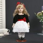 "Collectible ceramic doll ""Agnes in a black dress with white lace,red flower"", 30 cm"