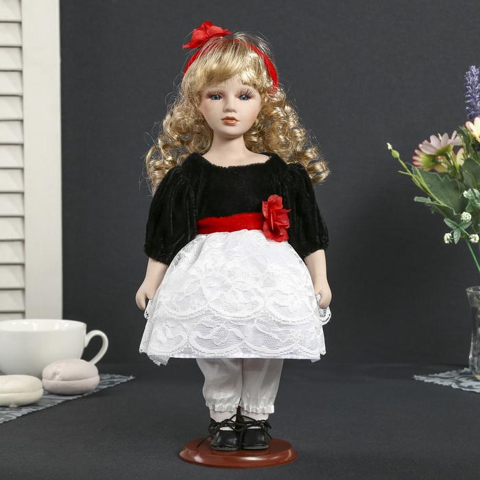 """Кукла коллекционная керамика """"Агния в чёрном платье с белым кружевом,красным цветком"""" 30 см"""