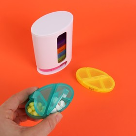 Pill box organizer-the-Week, English letters, 7 container, 4 sections, MIX color