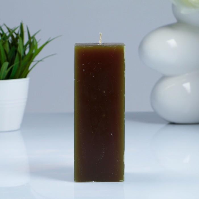 Свеча- квадрат, парафиновая, оливковая, 5,6×5,6×15 см