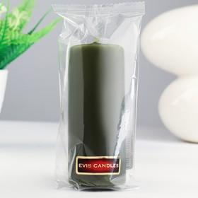 Candle - cylinder, paraffin, olive, 4×10 cm