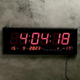 Часы настенные электронные, с термометром и календарём, красные цифры, 64х24х3 см