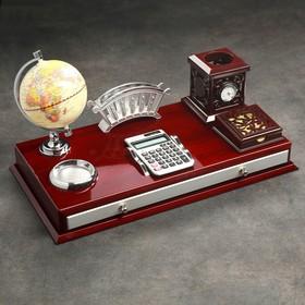 Набор настольный 6в1 (часы, визитница, калькулятор, подставка для печати, бумаги, ручек)