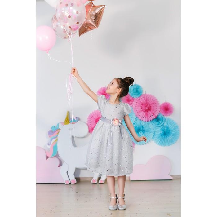 Платье нарядное для девочки MINAKU «Стелла», рост 134 см, цвет серебро